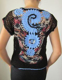 Black and Blue Crochet Blouse Freeform Crochet Irish от MARTINELI