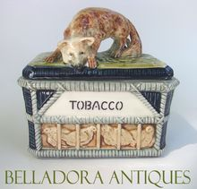 Majolica Humidor Fox on Hen House - Figural Majolica Tobacco Jar c1890