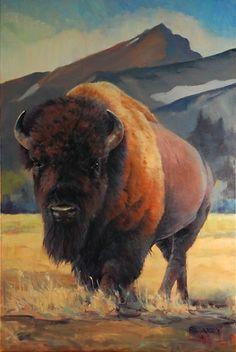 Spot Mountain Stud(y) by Rob Akey Oil ~ 36 x 24 Buffalo Animal, Buffalo Art, Native American Artwork, American Indian Art, American Bison, Majestic Animals, Animals Beautiful, Buffalo Pictures, Buffalo Painting