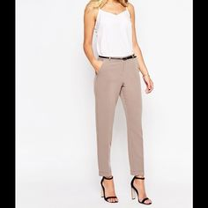 ASOS cigarette pant with belt Color is camel. Light weight fabric. Fitted waist. Concealed closure. Pin buckle belt. Side pockets. Slim fit. New with tags. 72% polyester 20% viscose 8% elastane. ASOS Pants Skinny