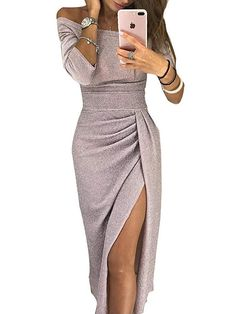 e9d38b7b7a54 ONine Women Off Shoulder Ruched Metallic Knit High Slit Bodycon Dress  Evening Party Cocktail Dress. Vestito Con PaillettesTubinoSexy ...