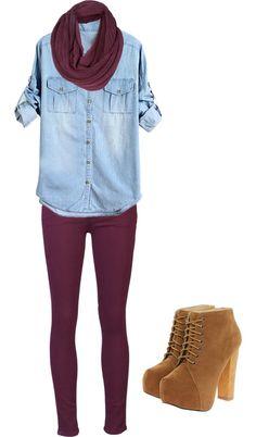 burgundy pants, chambray top, cognac booties