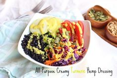 Creamy, all-purpose dressing made with turmeric, hemp seeds, and olive oil. A delicious accoutrement to salads, grains, and vegetables.