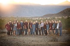 Extended family photography Family of 25 pose for a portrait in Ahwatukee, AZ near the desert and mountians