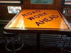 Road Sign Tables Fun pops for the bar height tables outdoors