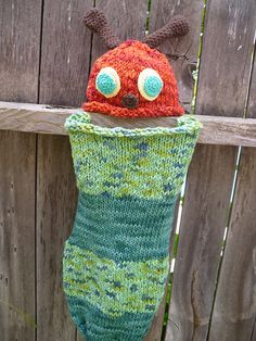 Very Hungry Caterpillar cocoon and hat  http://www.ravelry.com/patterns/library/baby-stork-sack-cocoon