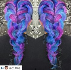blue purple oversized dyed hair color