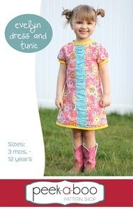 The Eveyln Dress and Tunic has the perfect amount of sophistication for any little darling! An inset ruffle down the front adds the perfect amount of girly fun or keep it simple with a plain accent. A keyhole closure in the back makes the Evelyn quick to sew and easy to get on and off- no pesky zippers or buttons!Pattern comes with a full tutorial and color photos in an easy to print PDF. Pattern pieces are computer generated and color coded for easy cutting. New to sewing