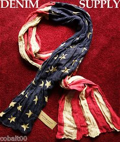 Ralph Lauren Denim and Supply USA United States Flag Scarf