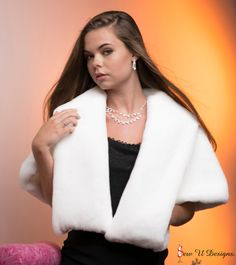 Winter wedding Shrug with pockets Vintage look wrap by sewudesigns