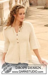 Ravelry: 112-8 Knitted jacket with rib and raglan sleeve pattern by DROPS design