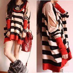 Fashion Oversized Batwing Coat Loose Square Stripe T-shirt Womens Ladies Fall