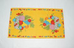 Colorful fruit and basket kitchen towel by HappyCloudImports, $9.00