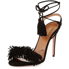Aquazzura Wild Thing Suede 105mm Sandal (1,070 CAD) ❤ liked on Polyvore featuring shoes, sandals, heels, black, black strap sandals, strap sandals, black suede sandals, suede fringe sandals and strappy heeled sandals