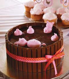 "Girly Pink Gingham Farm Party:– Cute ""Piggies in the Mud"" Cake"