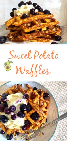 These delicious Sweet Potato Waffles are the perfect healthy fat, healthy carb meal option for breakfast, lunch or dinner! Sweet Potato Patties, Sweet Potato Waffles, Baby Food Recipes, Snack Recipes, Easy Recipes, Healthy Recipes, Snacks, Easy Meals For Kids, Kids Meals