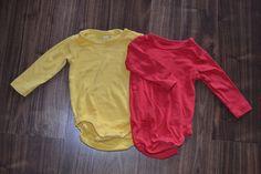 Langarmbodys gelb & rot