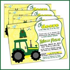 Tractor Baby Shower Invitations in John Deere Green by LullabyLoo, So cute for a baby shower!