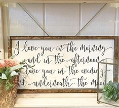 "I love you in the morning and in the afternoon | wood sign | farmhouse sign | 24"" x 12.75"""