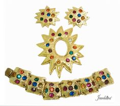 Vintage Signed Edouard Rambaud Pin, Bracelet & Earrings http://www.jeweldiva.com/vintage-signed-edouard-rambaud-pin-bracelet-earrings.html