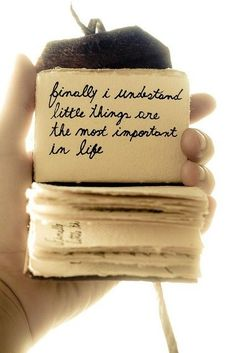 ...finally I understood little things in life are the most important....