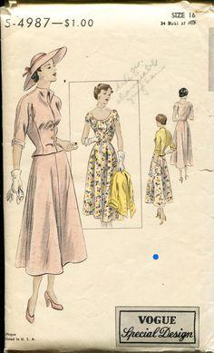 Vintage 40s Sewing Pattern Scoop Neck Dress Fitted by retromonkeys