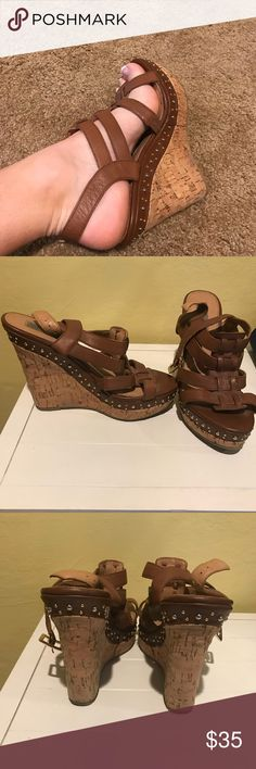 Steve Madden Wedges Great Condition! Too tall for my height. No wear and tear. Normal scuffs on the bottom of the heel. Steven Alan Shoes Wedges