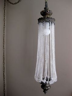 Very large blue chandelier swag lighting metal glass shabby chic making light fixtures from antique lamps and beads aloadofball Image collections