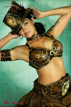 Steampunk hat, belt, bra, and armband. Interesting outfit.#Repin By:Pinterest++ for iPad#