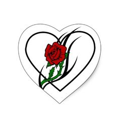 Red Rose Tattoo Heart Stickers