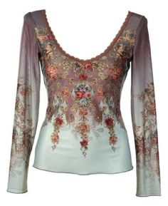 (all i need is a winning lottery ticket)Blue and Purple Degrade Chiffon Lycra Long Sleeves Shirt Designed by Michal Negrin with Swarovski Crystal Accented Victorian Floral Pattern, Lace Trim and Merrow Edge Finish: Clothing