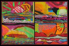 Gorgeous colorful landscapes using torn painted paper - this could be a great landscape idea for the 'Australia Then and Now' unit.