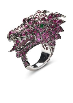 Henri J Sillam    White gold ring with rubies and tsavorites  I would so like to own this. Beautiful.