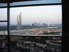 Beautiful view of Millennium tower and UNO City in Vienna