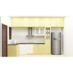 L-Shaped modular kitchen with loft, bottom cabinet, tall unit made up of plywood with laminate finish. A Kitchen is a place where you spare loveable moments by cooking for your loved ones. You will enjoy cooking with this modular kitchen that has been cleverly crafted. Other accessories like baskets will be charged extra.