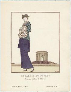 """""""Le Jardin du Peyrou - Costume tailleur de Chéruit"""", Gazette du Bon Ton, 1913; MFA 2004.18.6"""