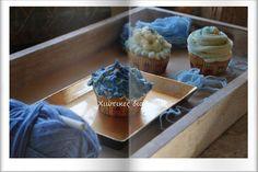 Χιώτικες Διαδρομές: Smurfs cup cake ?  Ή  μπλε λουλούδια cup cake ?  Γ... Cup Cakes, Blue Flowers, Create, Desserts, Food, Tailgate Desserts, Deserts, Cupcake, Essen