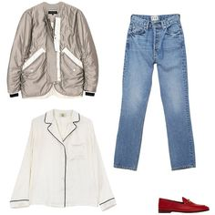 Rag & Bone silk bomber jacket, price upon request, for information: ragbone.com; Eve Denim silver bullet jeans, $295, shopsuperstreet.com; Gucci horsebit-detailed leather loafers, $630, net-a-porter.com; Yolke silk pajama shirt, price upon request, for information: yolke.co.uk