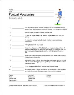 Football Wordsearch, Vocabulary, Crossword, and More: Football Vocabulary