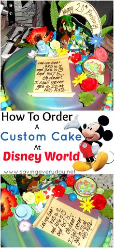 Disney loves to help you celebrate special occasions! Here's all you need to know to have a custom cake created by a Disney pastry chef, and check out the Alice In Wonderland cake I had made for my daughter! Disney World Tips And Tricks, Disney Tips, Disney Food, Disney 2015, Disney Snacks, Disney Disney, Disney Princess, Disney World Birthday, Alice In Wonderland Cakes