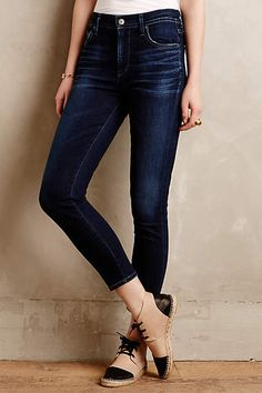 Cropped High-Rise Dark-Wash Denim Skinny Jeans, Two-Tone Lace-Up Espadrille Shoes // combination