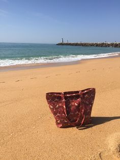 Our William Morris Red Strawberry Thief bag on the beach at Vilamoura William Morris, Household, Strawberry, Textiles, Traditional, Algarve, Prints, Portugal, Design