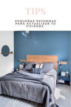 Bedroom Colour Schemes Blue, Blue Bedroom Walls, Blue Bedroom Decor, Bedroom Wall Colors, Home Bedroom, Blue Bedrooms, Home Wall Colour, Bedroom Wall Designs, Home Room Design