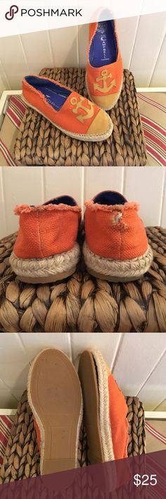 Jeffrey Campbell Anchor Espadrilles Orange cloth with anchor and front leather accents worn twice have lots of life left. Right back cloth is a bit loose but there is another layer inside so does not affect shoe also right inside sole about loose can't feel it when you walk easy fix at the cobbler for both. Natural fraying at sides of cloth. Jeffrey Campbell Shoes