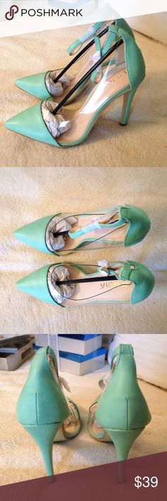 Mint Ankle Strap HEELS  Must have for upcoming spring!  Brand new, in a box . HEEL measures approximately 4.5 inches. Best color shows picture number four. Liliana Shoes Heels