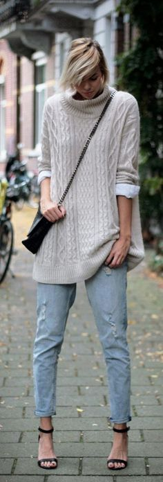 Big beige knit....love this sweater....wear with ankle boots instead.  So silly to wear a sweater because it's cold out,then put on sandals!
