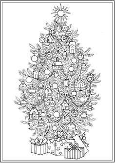 ideas for christmas tree drawing pencil coloring pages Easy Christmas Ornaments, Cute Christmas Tree, Colorful Christmas Tree, Christmas Tree Themes, Christmas Cards To Make, Christmas Town, Christmas Pictures, Christmas Crafts, Christmas Tree Coloring Page