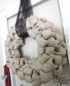 Burlap Bubble Wreath - So cute! I made this for my grandma and safety pinned on flowers and hot glued her last initial! So easy and turned out great!