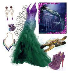 """Mermaid Dress #1"" by vegasprincess-1 ❤ liked on Polyvore featuring Fantasy Jewelry Box, Daniela De Marchi, Blu Bijoux, Christian Louboutin and mermaid"