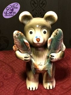 Vintage Set of Victoria Ceramics Bear Holding Trout Fish Salt and Pepper Shakers by XtraLoveIncluded on Etsy